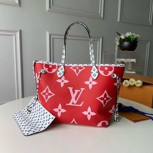 Louis Vuitton giant neverfull pink red
